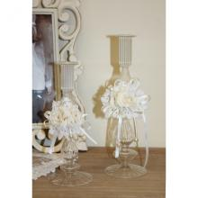 Set 2 Striped glass candlesticks