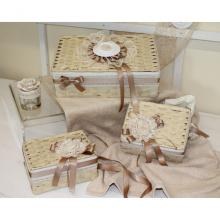 Set 3 Rectangular Closed Hampers Romantic