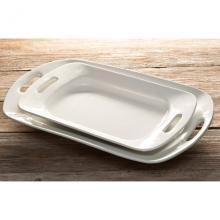 Rectangular Tray with handles White