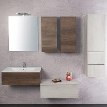 Wall-hung Bathroom Composition Unika 195 white and dark elm