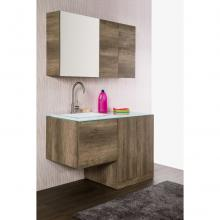Wall-hung Bathroom Composition Unika cm 129 dark elm