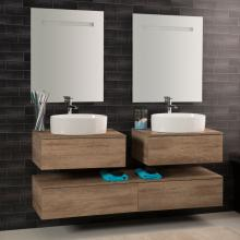 Wall-hung Bathroom Composition Unika 160 natural elm
