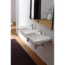 Drop In or wall-hung washbasin double basin ML