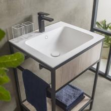 Washbasin unit with ceramic sink and shelf Skema