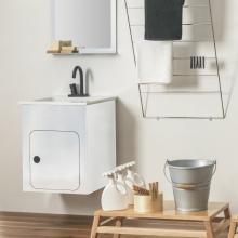 Washbasin unit cm 52x50 with ceramic washbasin Alluminium