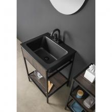 Washbasin unit with black ceramic sink and shelf Skema