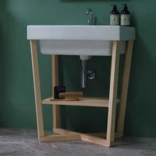 Cross washbasin unit in solid wood 70x50xH76 Trix