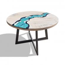 Wood and embedded lavastone modern table River