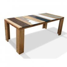 Wood and embedded lavastone modern table Xilo