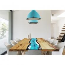 Wood and embedded lavastone modern table Life Oceanside