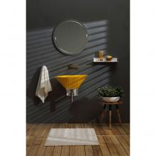 Oval Countertop/Wall-hung Washbasin Terra Glossy Sirio Yellow