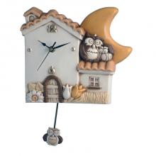 Pendulum Clock House and Owls