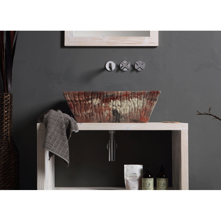 Rectangular Countertop/Wall-hung Washbasin Pietra Red Verona