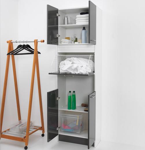 Laundry column 4 doors with laundry basket Brava Anthracite