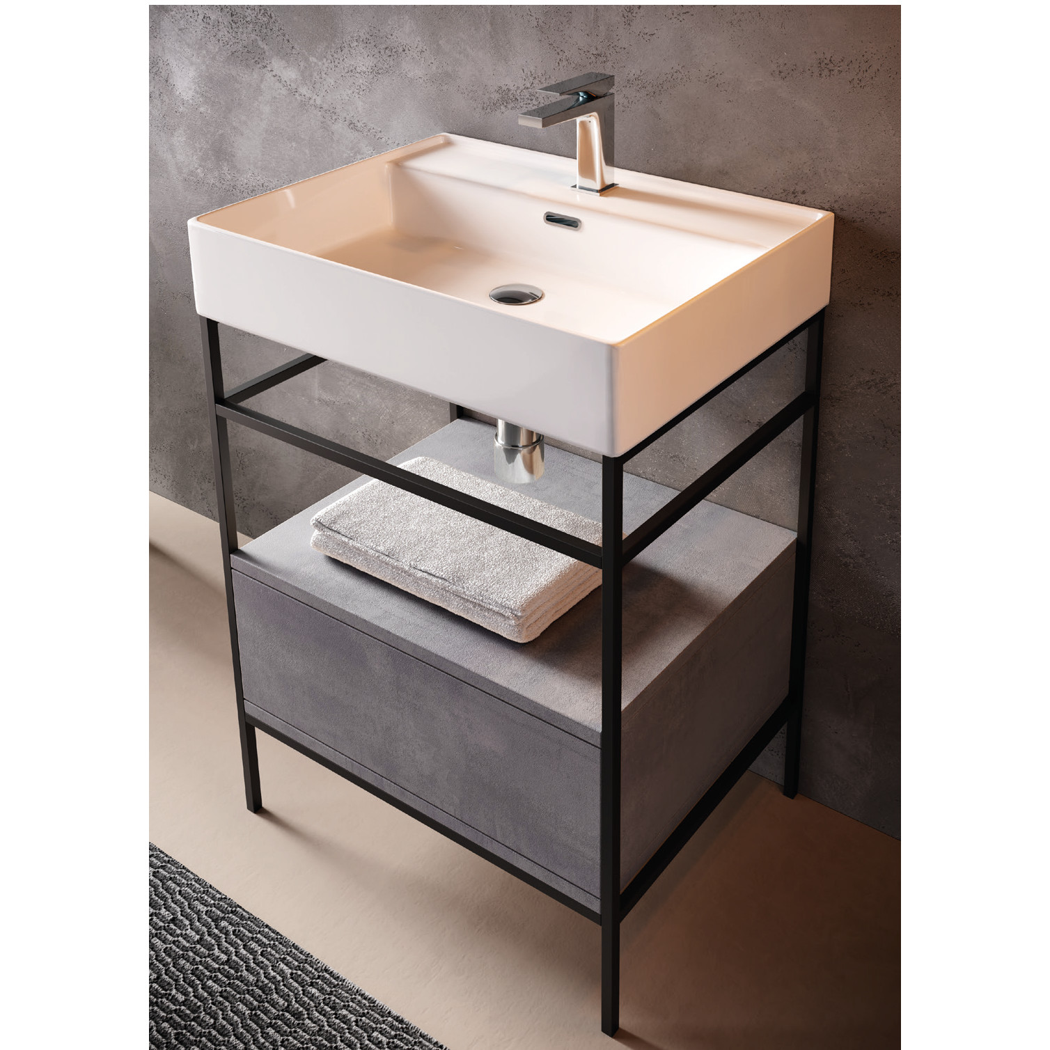 Countertop/Wall-hung washbasin cm 46x61 Faster Kiub