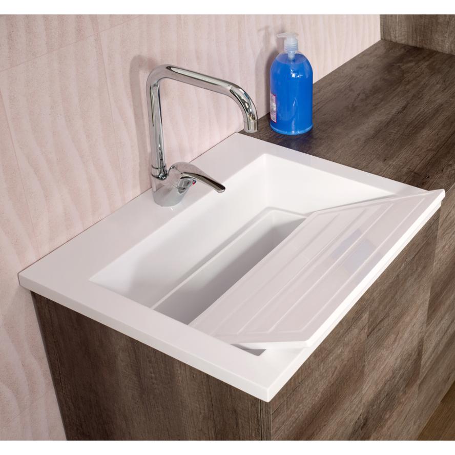 Drop in washbasin cm 60x49 Zeus with tablet