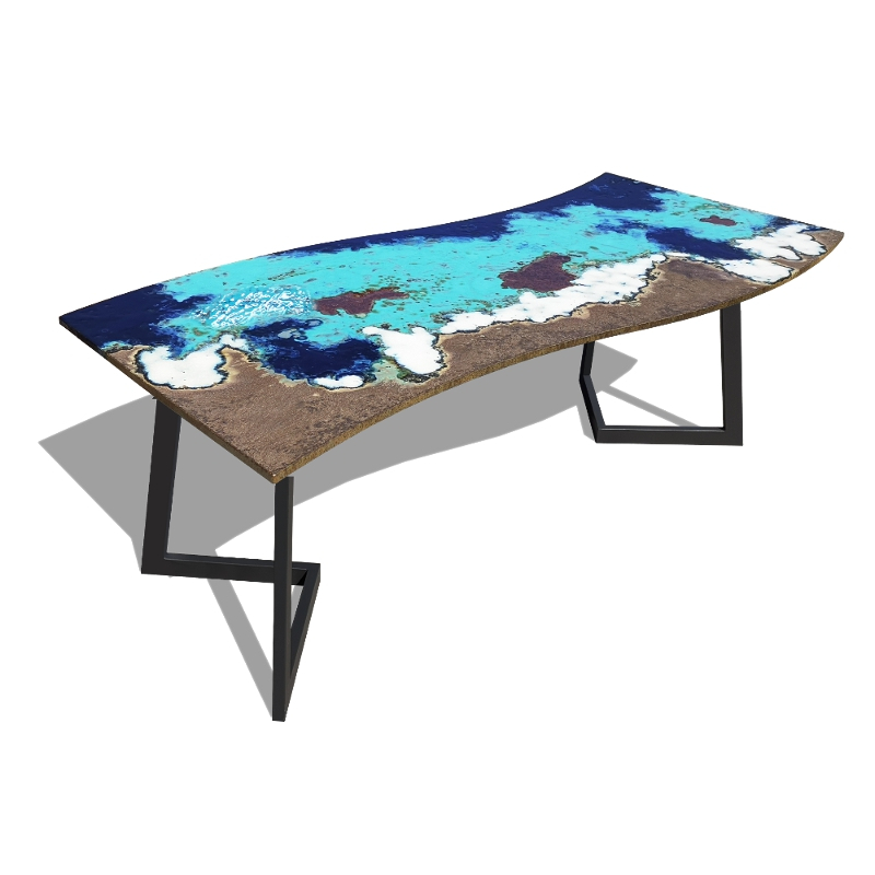 Modern table in lavastone and iron Onda