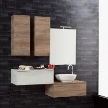Wall-hung Bathroom Composition Unika 140 natural and white elm